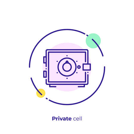 Line art money safe. Finance safety. Scalable vector icon in modern outline style. Lineart elements vector illustration.