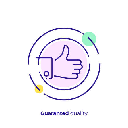 line art thumb up, like hand. Team building. Scalable vector icon in modern lineart style. outline elements vector illustration. Stock Vector - 101893501