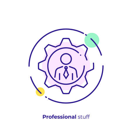 line art man in gear. Hiring. Team building. Scalable vector icon in modern lineart style. outline elements vector illustration.