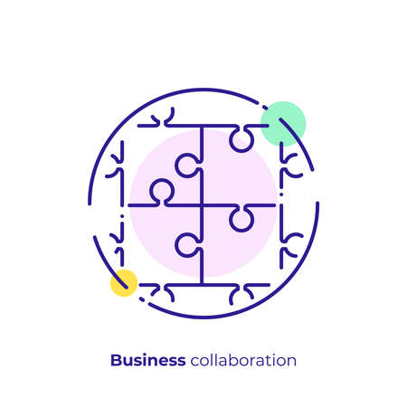 line art puzzle. Team building. Scalable vector icon in modern lineart style. outline elements vector illustration.