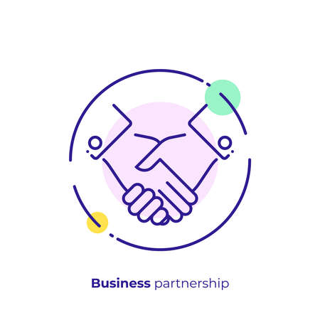 line art handshake. Team building. Scalable vector icon in modern lineart style. outline elements vector illustration.