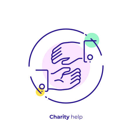 line art helping hands. Assistance arm. Team building. Scalable vector icon in modern lineart style. outline elements vector illustration.