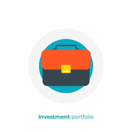 Business case flat art icon, investment portfolio vector art, cartoon office suitcase illustration
