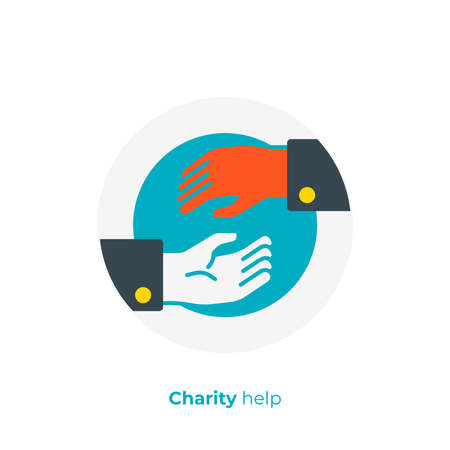 flat art helping hands. Assistance arm. Team building. Scalable vector icon in modern flat style. cartoon elements vector illustration.