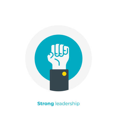 flat art rised fist. Leadership hand. Team building. Scalable vector icon in modern flat style. cartoon elements vector illustration.