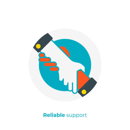 flat art assistant hands. Team building. Scalable vector icon in modern flat style. cartoon elements vector illustration. Illustration
