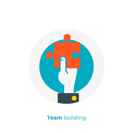 flat art puzzle piece in a hand. Business solution. Team building. Scalable vector icon in modern flat style. cartoon elements vector illustration.