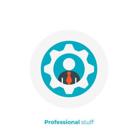 flat art man in gear. Hiring. Team building. Scalable vector icon in modern flat style. cartoon elements vector illustration. Illustration
