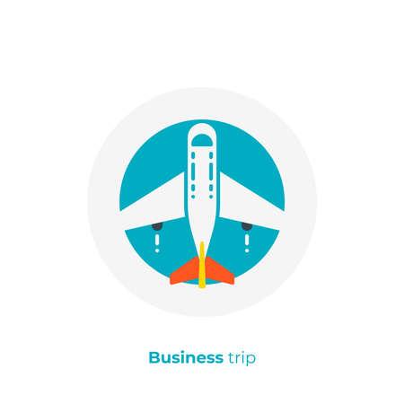 Airplane flat art icon, business trip vector art, cartoon commercial flight illustration Vettoriali