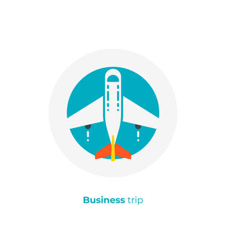 Airplane flat art icon, business trip vector art, cartoon commercial flight illustration Çizim