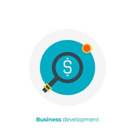 flat art money search. Finance scan. Scalable vector icon in modern cartoon style. flat elements vector illustration.