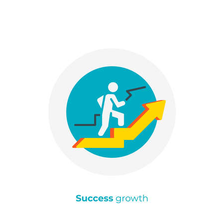 flat art stick walk up. Business growth. Scalable vector icon in modern cartoon style. flat elements vector illustration.