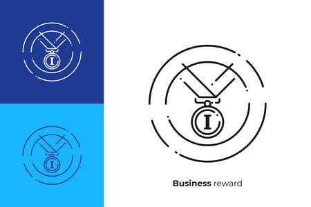 Finance reward line art icon, business success vector art, outline digital champion illustration