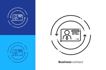 Business contact line art icon, digital business card vector art, outline online profile illustration