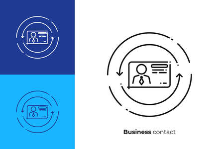 Business contact line art icon, digital business card vector art, outline online profile illustration