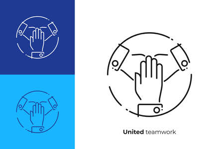 line art united hands. Pile of arms. Team building. Scalable vector icon in modern lineart style. outline elements vector illustration.