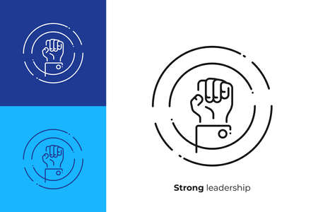 line art rised fist. Leadership hand. Team building. Scalable vector icon in modern lineart style. outline elements vector illustration. Stock Vector - 102872413
