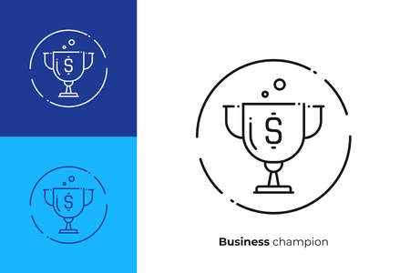 Line art reward cap. Finance success. Scalable vector icon in modern outline style. Lineart elements vector illustration.