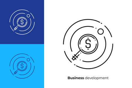 Line art money search. Finance scan. Scalable vector icon in modern outline style. Lineart elements vector illustration. Illustration