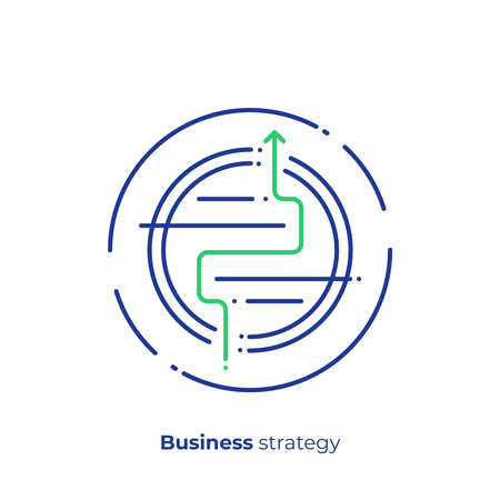 Business strategy line art icon, investment tactics vector art, outline success maze illustration