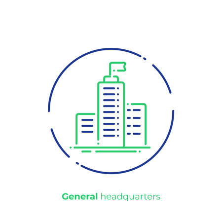 Line art headquarters. Business center. Scalable vector icon in modern outline style. Lineart elements vector illustration.