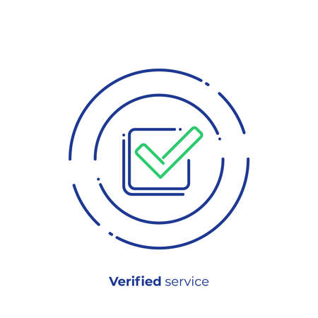 Successfull investment line art icon, verified finance organisation vector art, outline digital checklist illustration Çizim