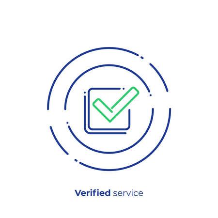 Succesvolle investering lijntekeningen pictogram, geverifieerde financiële organisatie vector kunst, digitale checklist illustratie schetsen Vector Illustratie