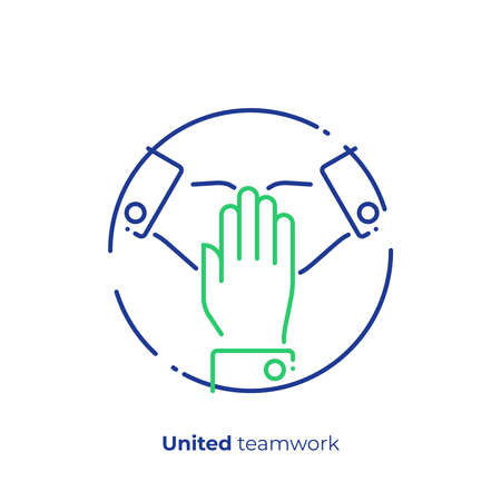 line art united hands. Pile of arms. Team building. Scalable vector icon in modern lineart style. outline elements vector illustration. Stock Vector - 103299351