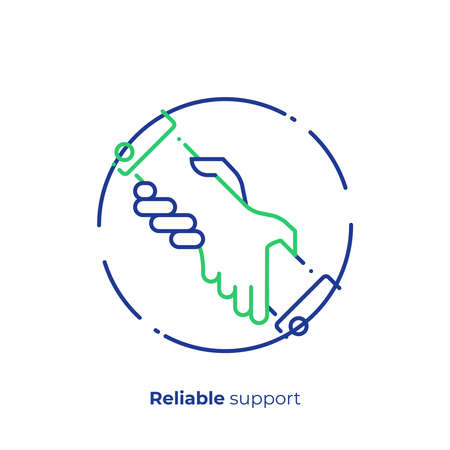 line art assistant hands. Team building. Scalable vector icon in modern lineart style. outline elements vector illustration. Stock Vector - 103299359