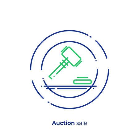 Finance auction line art icon, business case judgement vector art, outline digital bargain illustration Illustration