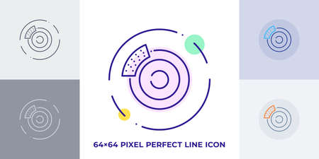 Car brake line art vector icon. Outline symbol of automobile stop pad. Vehicle caliper pictogram made of thin stroke. Isolated on background.