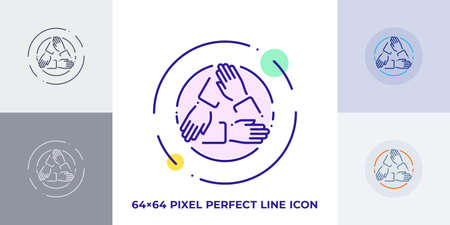 Three hands holding each other line art vector icon. Outline symbol of cooperation. Teamwork pictogram made of thin stroke. Isolated on background. 矢量图像