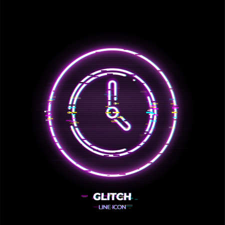 Clock line art vector icon. Outline symbol of time. Watch pictogram made of thin stroke. Glitched 80s cyber punk style. Illusztráció