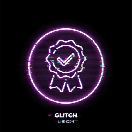 Guarantee line art vector icon. Outline symbol of quality emblem with checkmark. Warranty pictogram made of thin stroke. Glitched 80s cyber punk style. Illusztráció