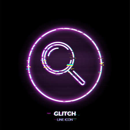 Magnifying glass line art vector icon. Outline symbol of internet search. Find pictogram made of thin stroke. Glitched 80s cyber punk style.