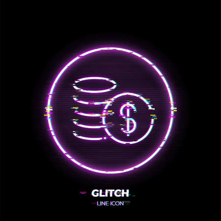 Cash line art vector icon. Outline symbol of money. Investment pictogram made of thin stroke. Glitched 80s cyber punk style. Illusztráció