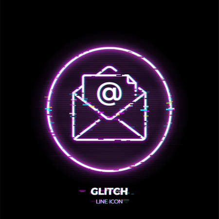 Email line art vector icon. Outline symbol of post envelope. Communication pictogram made of thin stroke. Glitched 80s cyber punk style.