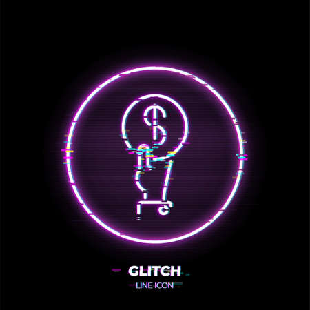 Hand with coin line art vector icon. Outline symbol of payment. Investment pictogram made of thin stroke. Glitched 80s cyber punk style.