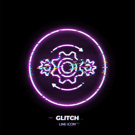 Gears line art vector icon. Outline symbol of machine engine. Industry pictogram made of thin stroke. Glitched 80s cyber punk style.