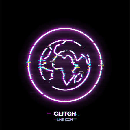 Globe line art vector icon. Outline symbol of world. Planet Earth pictogram made of thin stroke. Glitched 80s cyber punk style. Çizim