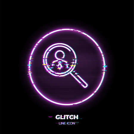 Magnifying glass with human figure line art vector icon. Outline symbol of people search. Recruitment pictogram made of thin stroke. Glitched 80s cyber punk style. Illusztráció