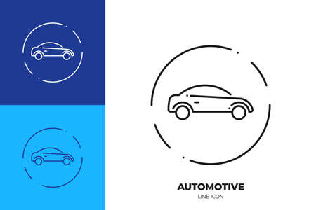 Car line art vector icon. Outline symbol of vehicle. Sedan automobile pictogram made of thin stroke. Isolated on background.