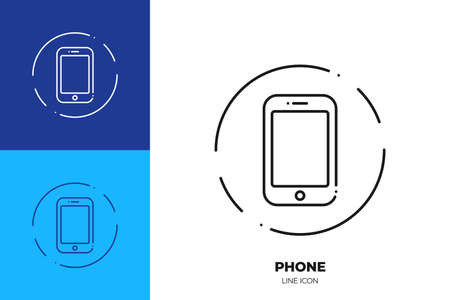 Smartphone line art vector icon. Outline symbol of modern phone. Mobile smart cellphone pictogram made of thin stroke. Isolated on background.