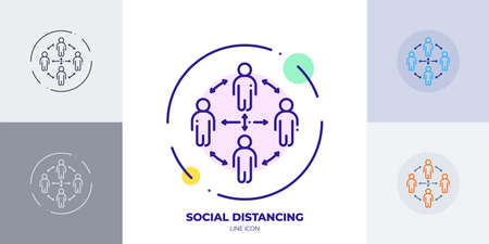 Social distancing line art vector icon. Outline symbol of preventive measures. Health protection pictogram made of thin stroke. Isolated on background.