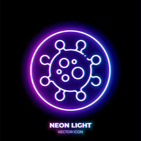 Virus cell neon light line art vector icon. Outline symbol of microbe. Infection pictogram made of thin stroke. Isolated on background.