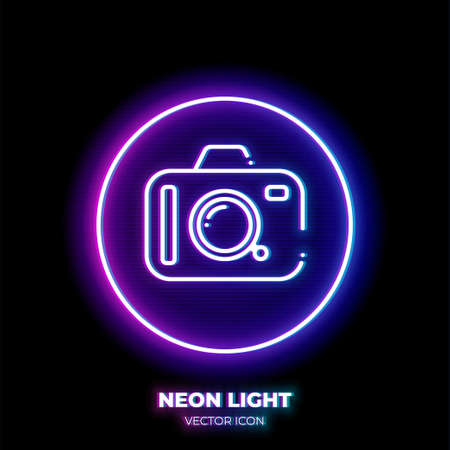 Camera neon light line art vector icon. Outline symbol of Photo equipment. Photographer pictogram made of thin stroke. Isolated on background.