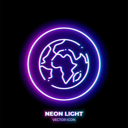 Globe neon light line art vector icon. Outline symbol of world. Planet Earth pictogram made of thin stroke. Isolated on background.