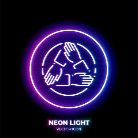 Three hands holding each other neon light line art vector icon. Outline symbol of cooperation. Teamwork pictogram made of thin stroke. Isolated on background.