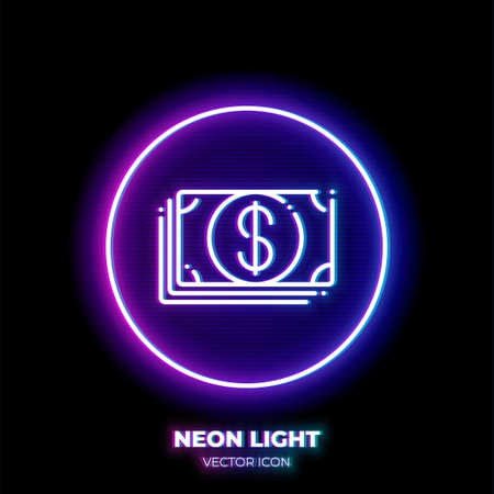 Cash neon light line art vector icon. Outline symbol of money. Investment pictogram made of thin stroke. Isolated on background. Illustration