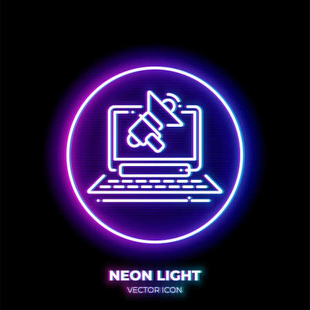 Laptop with loudspeaker neon light line art vector icon. Outline symbol of advertising. Business promotion pictogram made of thin stroke. Isolated on background. Illustration